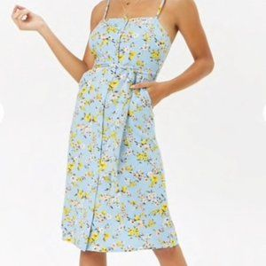 FOREVER 21 Floral Button Front Midi Dress Blue NWT